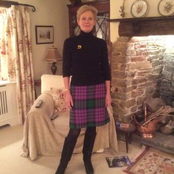 Green and Purple wool tweed straight skirt