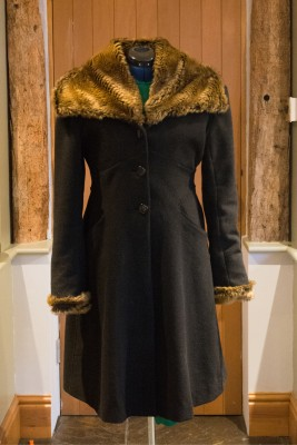 wool flared coat with faux fur collar