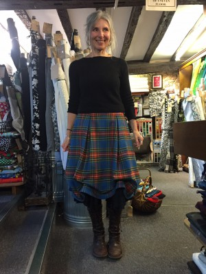 Ruched wool tartan skirt