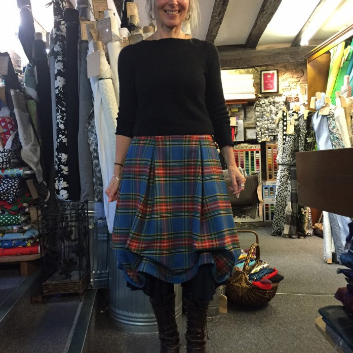 Ruched wool tartan skirt
