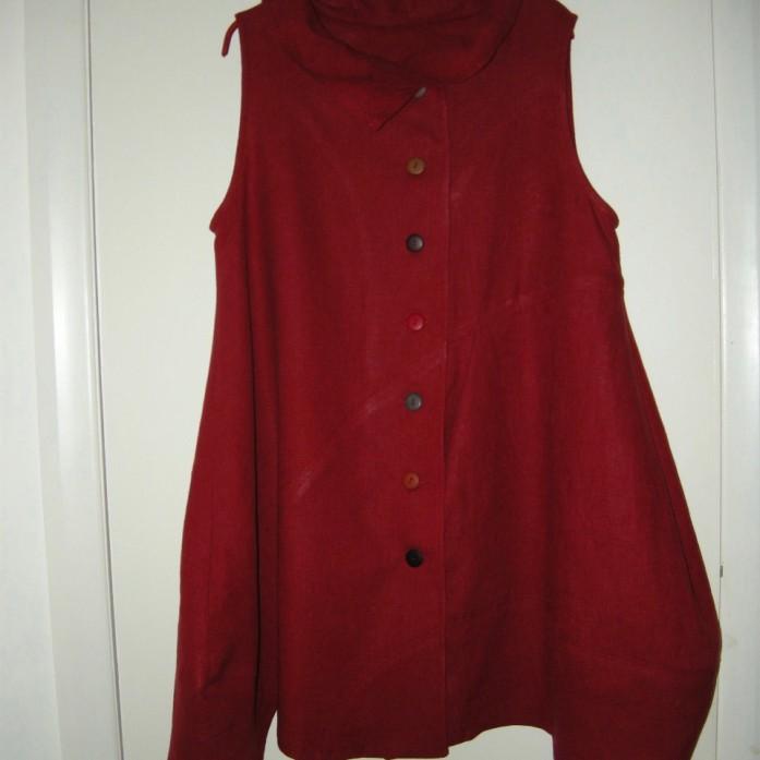 heavy washed linen sleeveless shirt