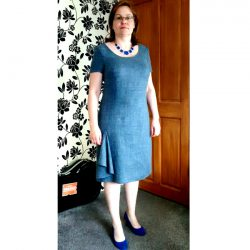 denim blue silk wool and linen mix shift dress