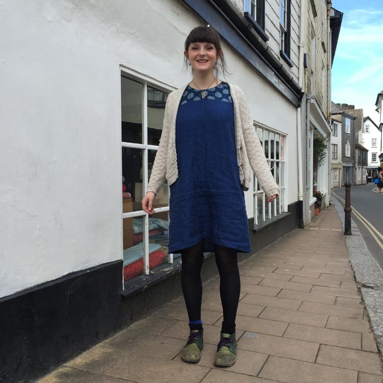 blue Irish linen smock dress