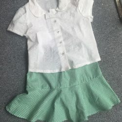 white cotton school shirt and green gingham school skater skirt