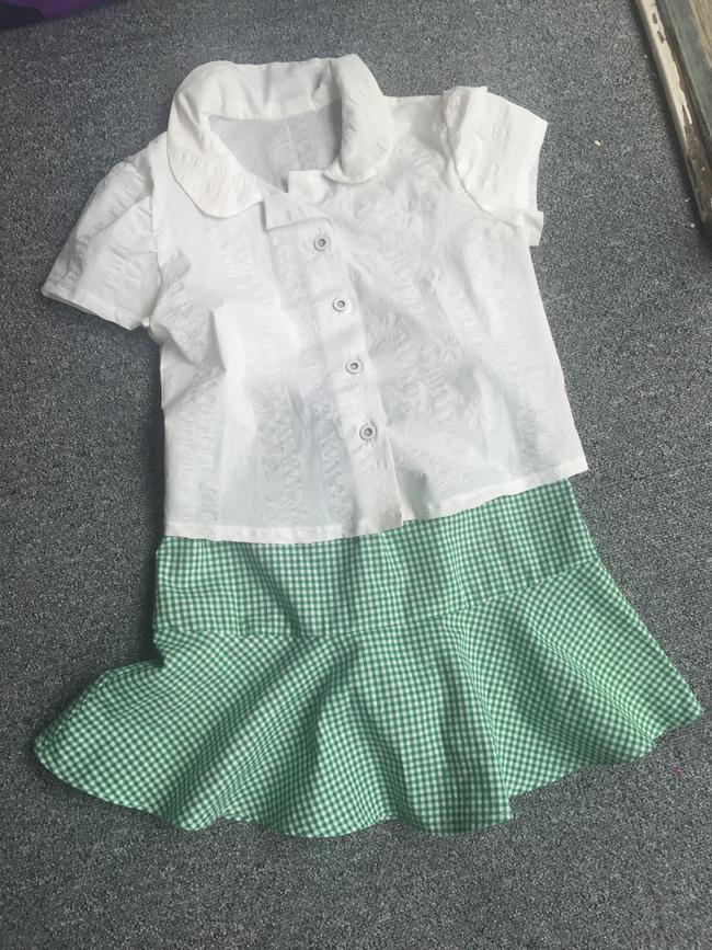 white cotton school shirt and green gingham school skater skirt