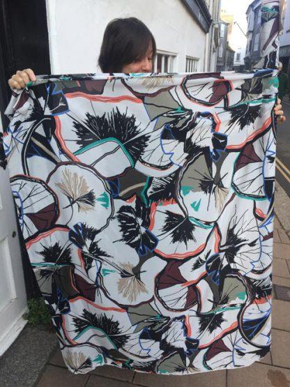 abstract print Italian Designer Silk Crepe de Chine