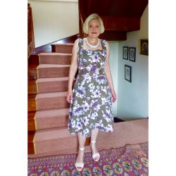 floral print linen and cotton flared dress