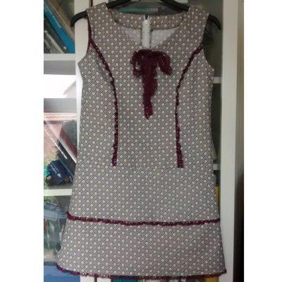 Geometric print Cotton needlecord dress