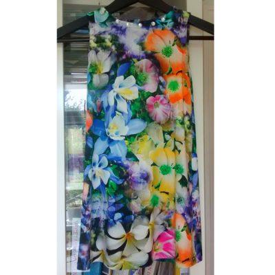 digital floral print jersey a-line dress
