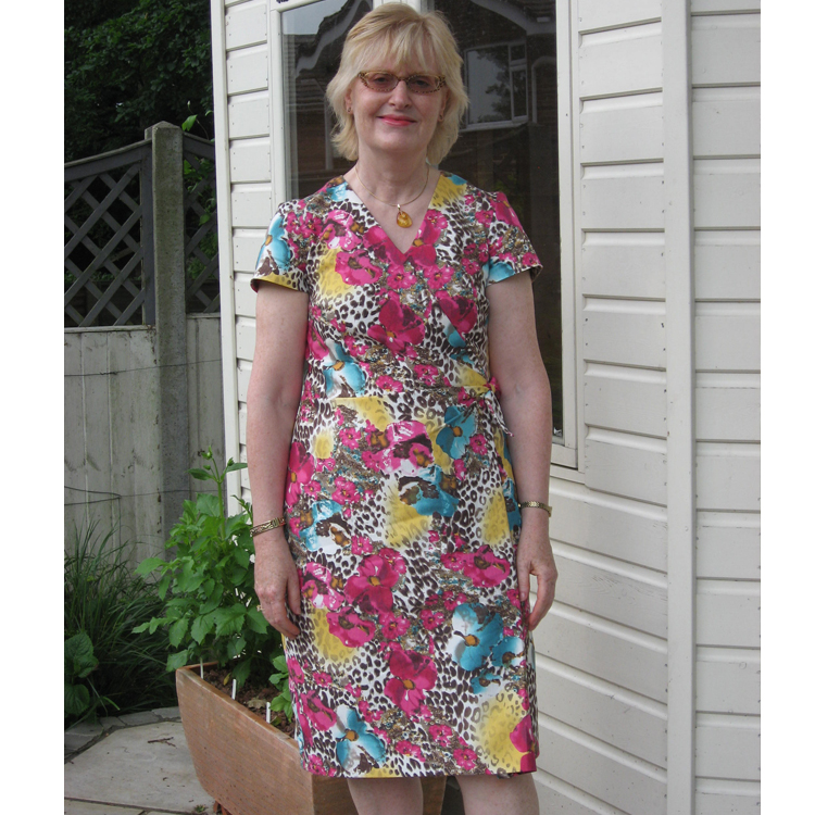 floral and animal print stretchy cotton drill dress