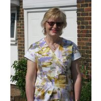 Lilac and ochre print stretch cotton sateen dress