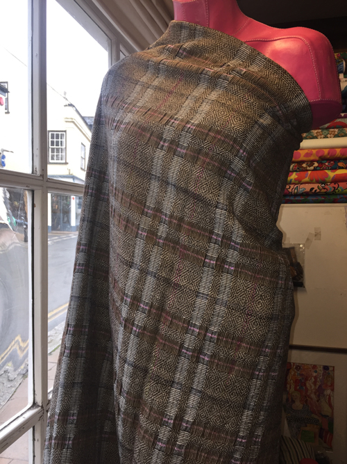 light brown check poly viscose floppy tweed