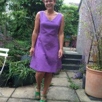 purple stretch cotton piqué dress