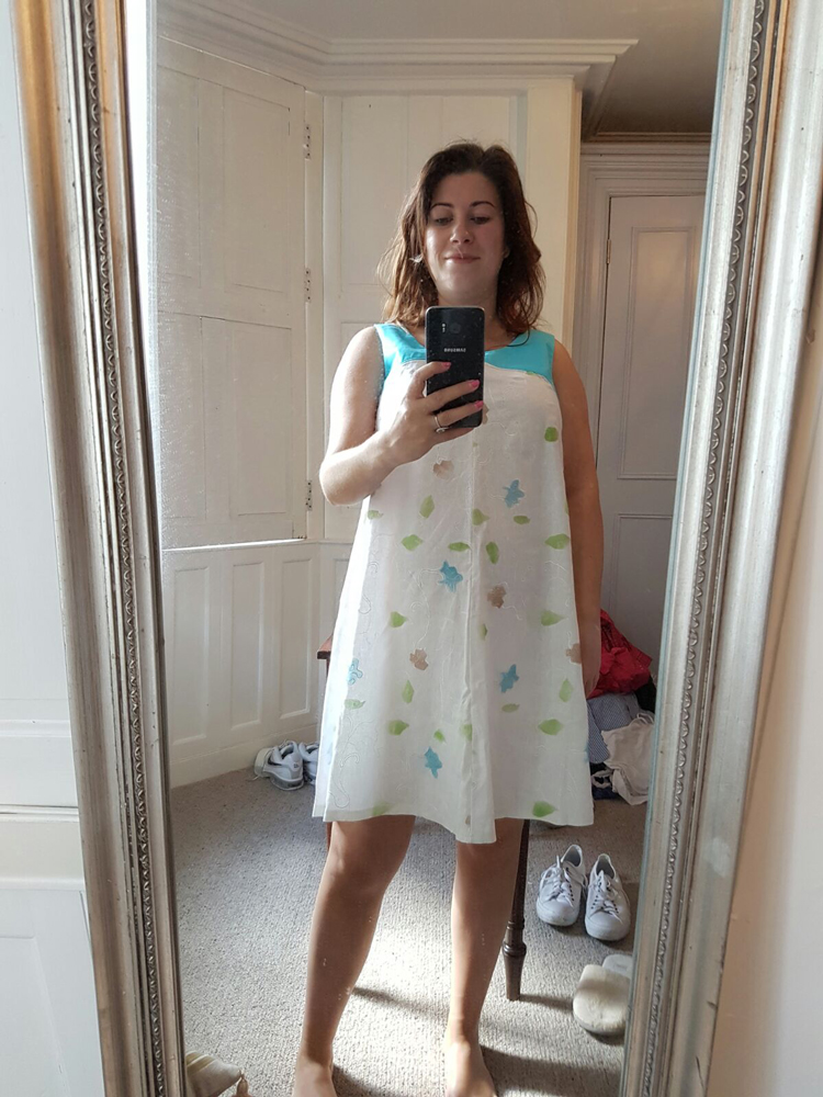 embroidered linen and viscose maternity dress