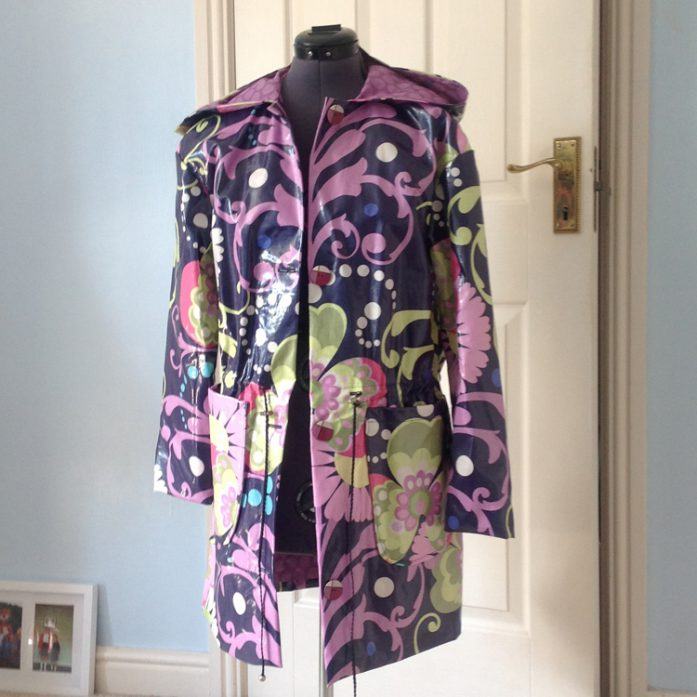 Amy Butler print laminated cotton raincoat