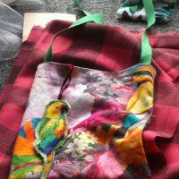 Tropical bird print cotton canvas bag