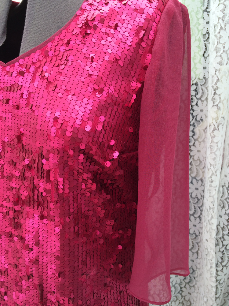 pink sequinned tulle dress