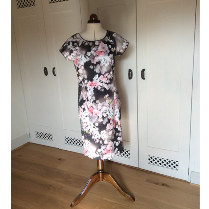 3d floral print stretch cotton sateen