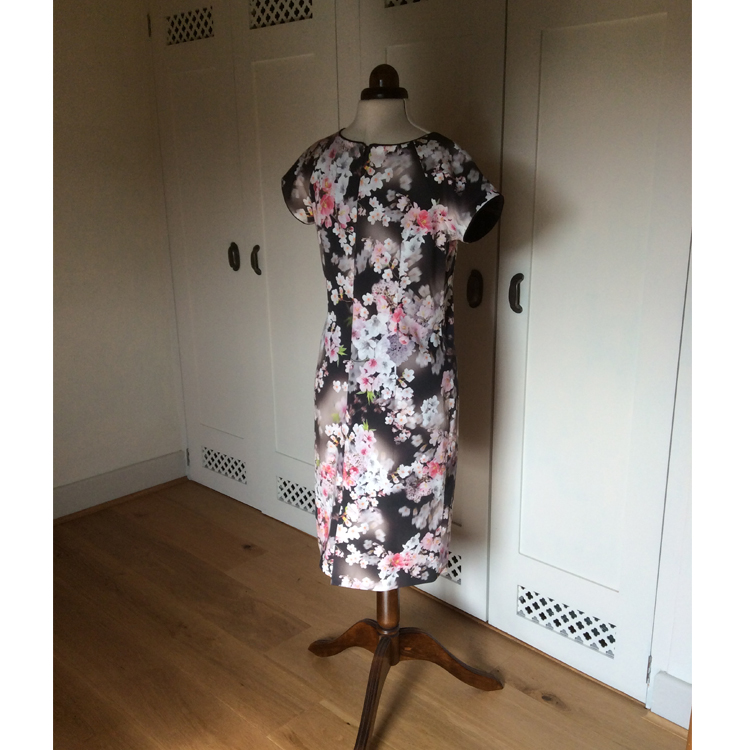 3d floral print stretch cotton sateen dress (back)