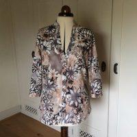 brown floral linen mix shirt