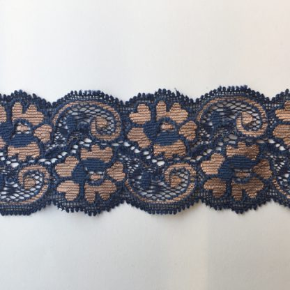 Navy and Nude soft stretch floral scalloped edge 50mm wide lace