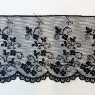 Black spriggy floral scalloped edge 80mm wide lace