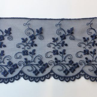 Navy Blue spriggy floral scalloped edge 80mm wide lace