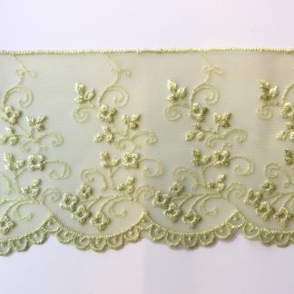 Chartreuse Green spriggy floral scalloped edge 80mm wide lace