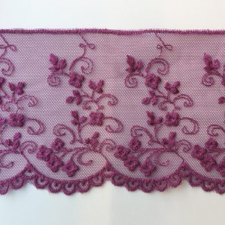 Plum Purple spriggy floral scalloped edge 80mm wide lace