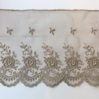 Taupe Grey rose floral scalloped edge 100mm wide lace