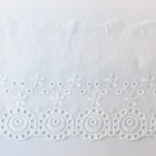White Broderie Anglaise 90mm wide Cotton Trim