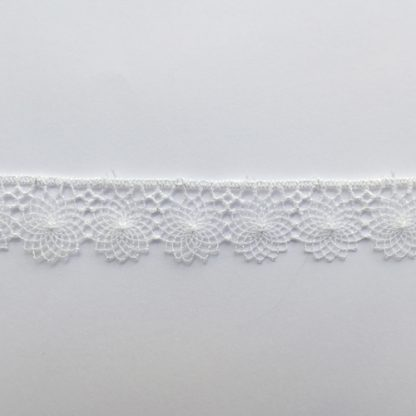 White spirograph Polyester fine 12mm wide Guipure Lace