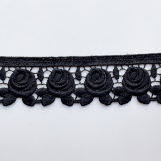 Black Polyester rose floral 35mm wide Guipure Lace Trim