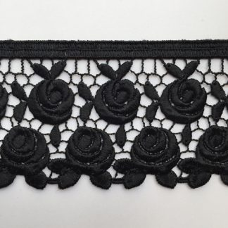 Black Polyester rose floral 60mm wide Guipure Lace Trim