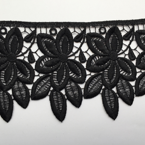 Black Polyester floral 105mm wide Guipure Lace Trim