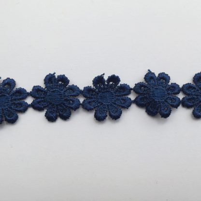 Navy Blue Polyester 25mm wide Daisy Braid