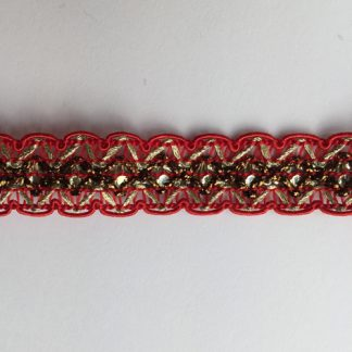 Red and Gold Lurex and Polyester 15mm wide Braid