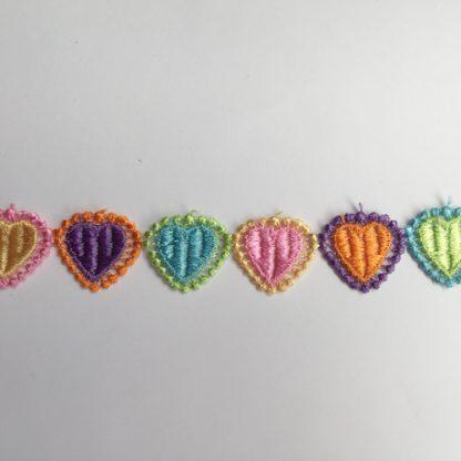 Multicolour Polyester Guipure Lace hearts Trim