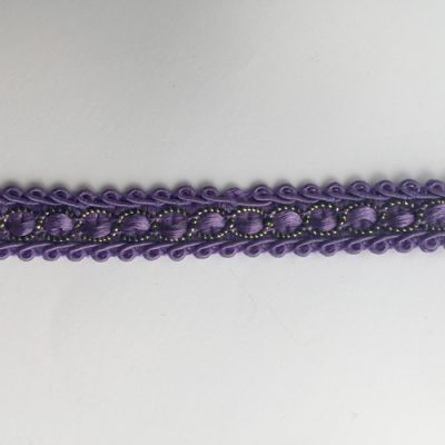 Purple Polyester and Lurex Gimp 16mm Braid