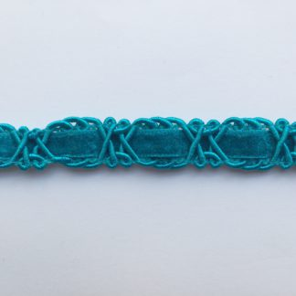 Turquoise figure of eight gimp 18mm wide Braid with velvet ribbon