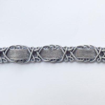 Light Grey figure of eight 18mm wide gimp Braid with velvet ribbon