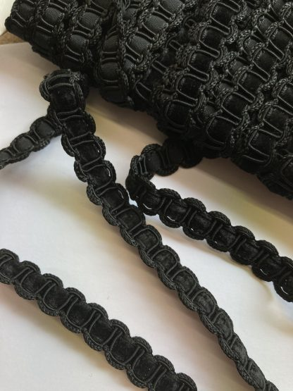 Black gimp Braid with velvet ribbon Braid. 50% Polyester 40% Viscose 10% Cotton