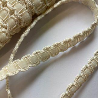 Cream gimp Braid with velvet ribbon Braid. 50% Polyester 40% Viscose 10% Cotton