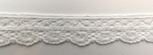 white cotton lace trim. Made in the UK