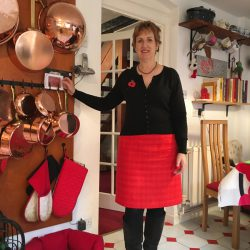 red silk tweed lined and interlined a-line skirt