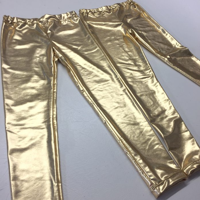 gold lamé jersey leggings