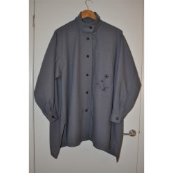 grey wool challis oversized shirt
