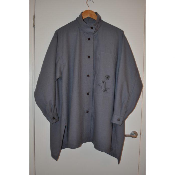 grey wool challis oversized shirt