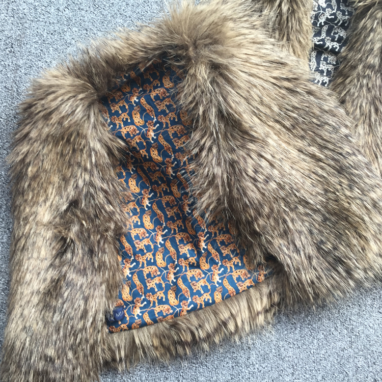 porcupine faux fur gilet with leopard print Liberty tana lawn lining