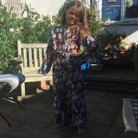 cartoon print viscose dressing gown
